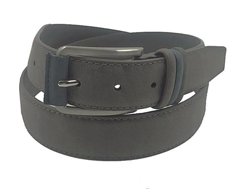 Men's Leather Belt- Grey