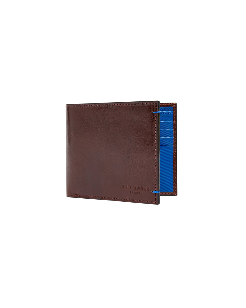 Contrast Bifold Leather Wallet- Tan