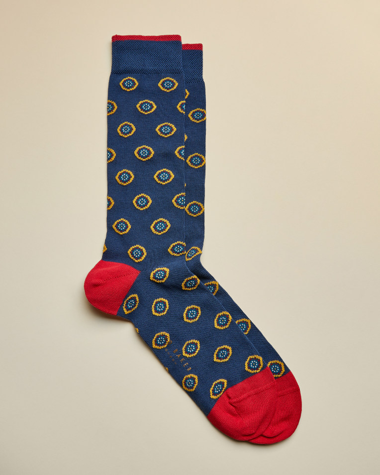 Intricate Spot Socks- Mid Blue