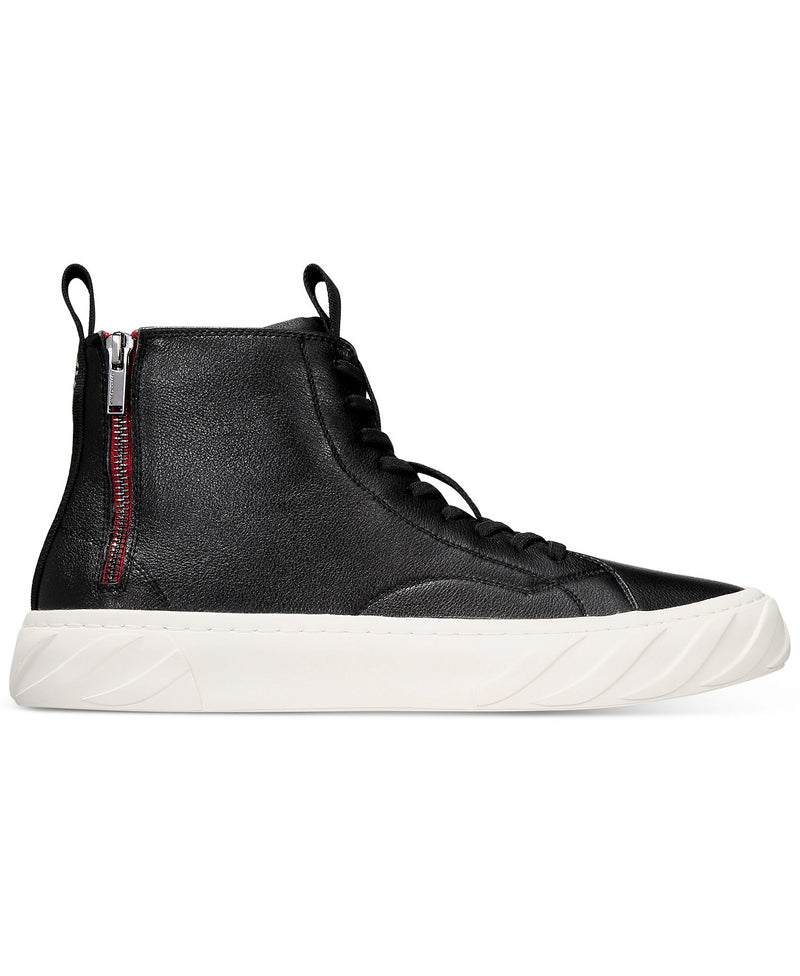 Back Zip Leather High Top Sneakers- Black