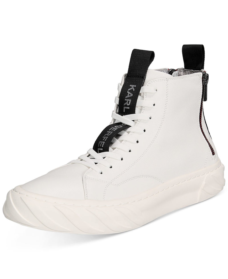Back Zip Leather High Top Sneakers- White