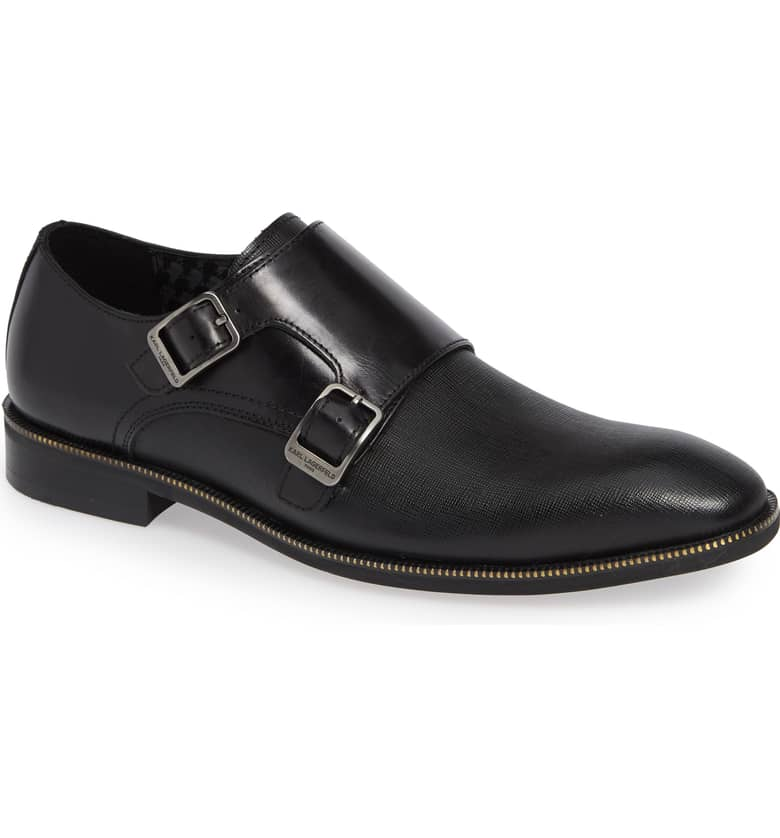 Mix Textured Double Monk Strap Leather Shoe- Black