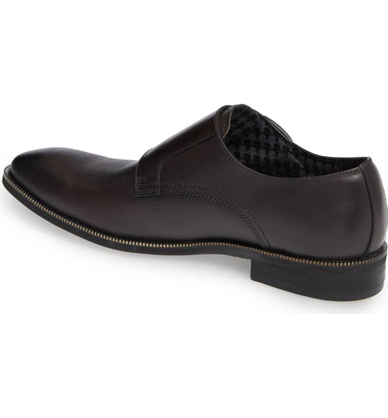 Mix Textured Double Monk Strap Leather Shoe- Dark Grey