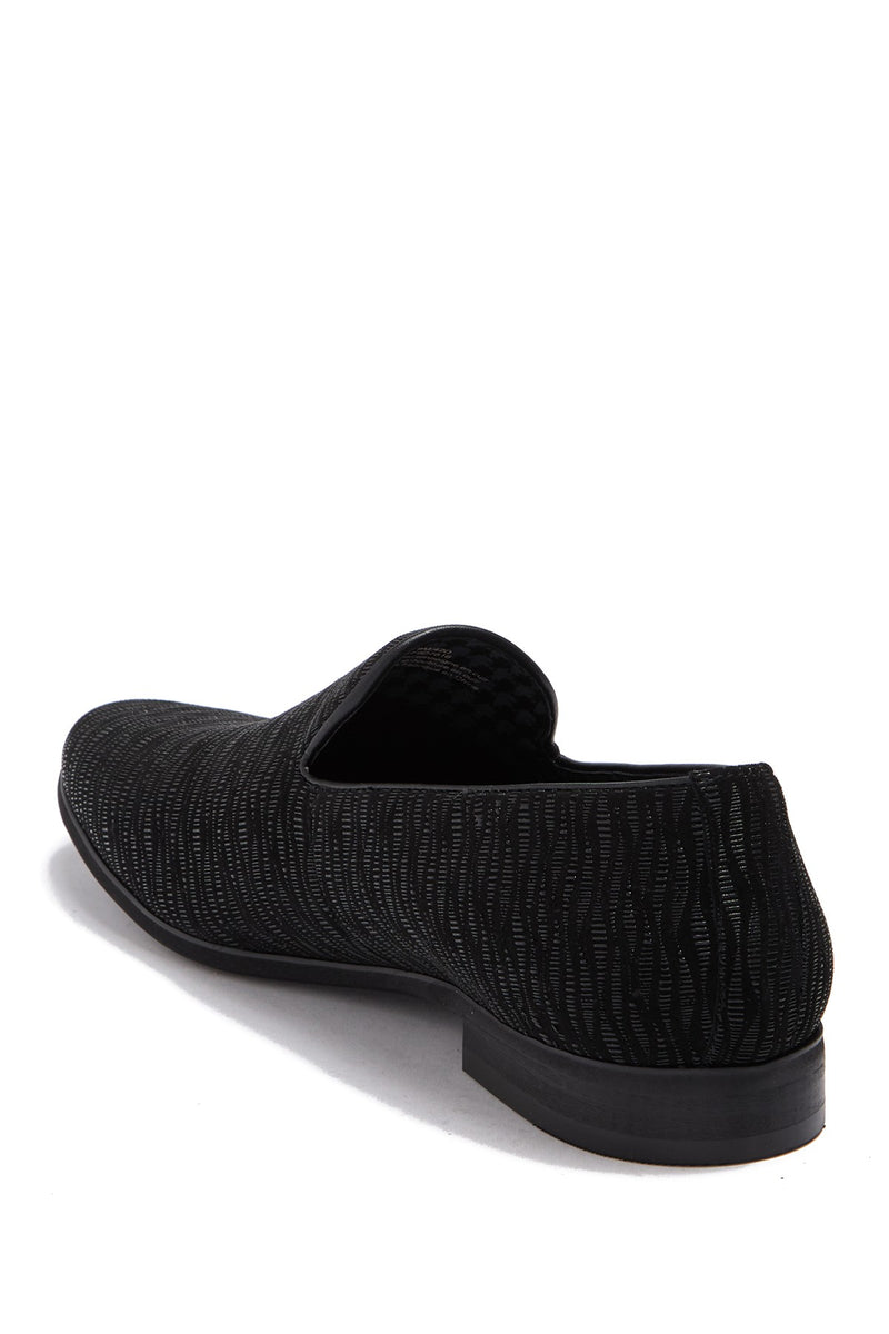 Textured Suede Loafer- Black