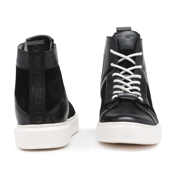 Perforated Suede Leather High Top Sneakers- Black