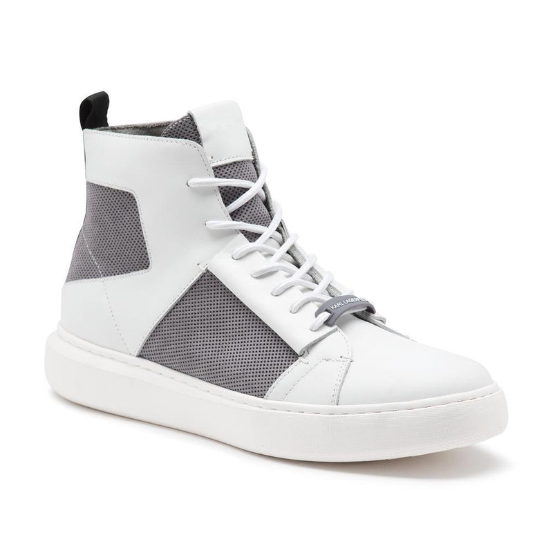 Perforated Suede Leather High Top Sneakers- Grey/White