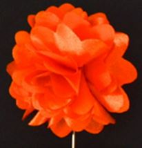 Piped Floral Lapel Pin - Orange