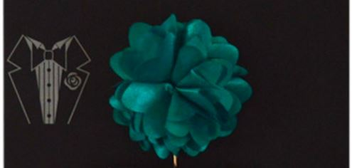 Piped Floral lapel Pin - Teal