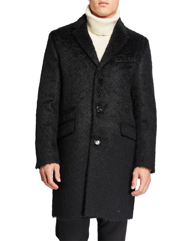 Mohair Wool Top Coat- Black