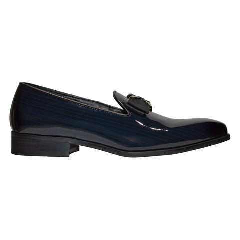 Slip On Patent Leather Loafers- Navy