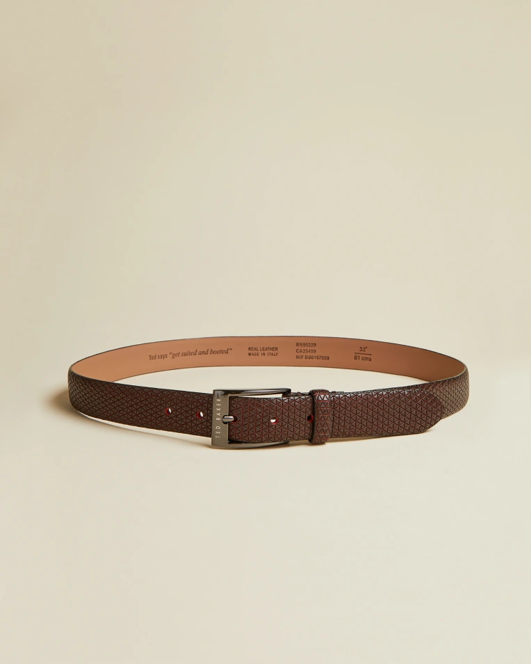 Textured Geo Leather Belt- Dark Red