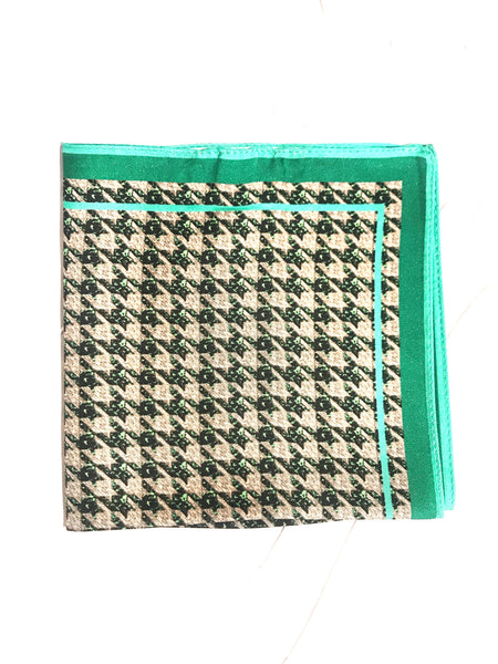 Houndstooth Silk Pocket Square- Turquoise