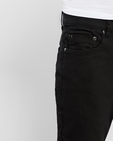 Solid Slim Fit Stretch Denim- Black
