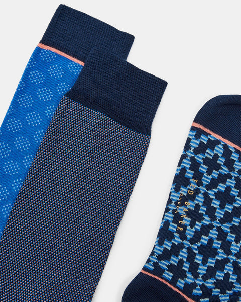 Ted Baker | Geo Print Three-Pack Cotton Sock Gift Set- Blue