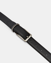 Woodgrain Leather Belt- Black