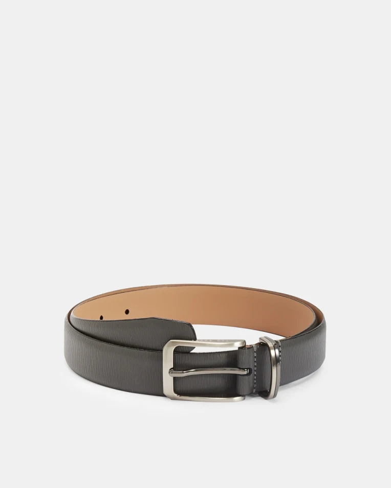 Woodgrain Leather Belt- Grey