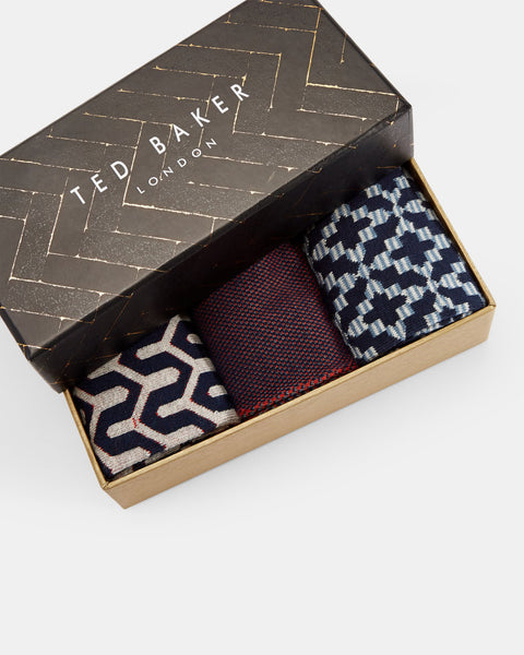 Ted Bake | Geo Print Three-Pack Cotton Sock Set
