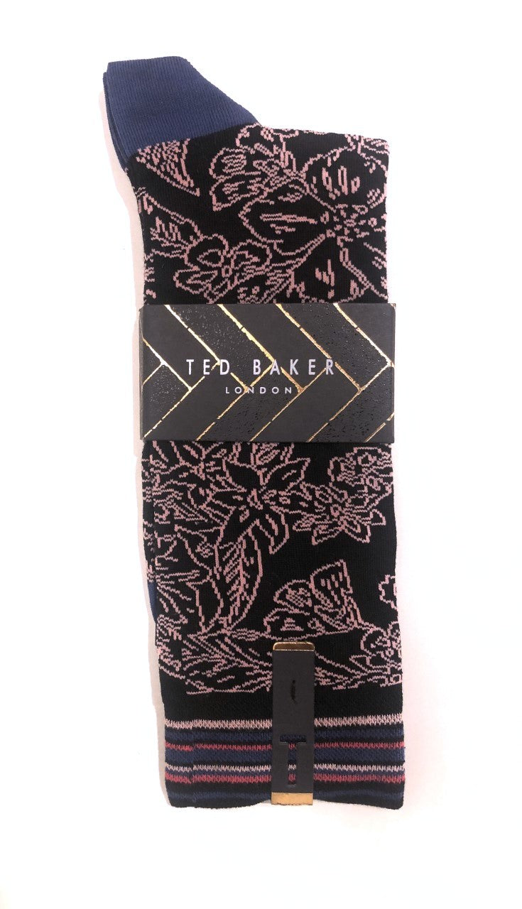 Floral Design Socks- Black