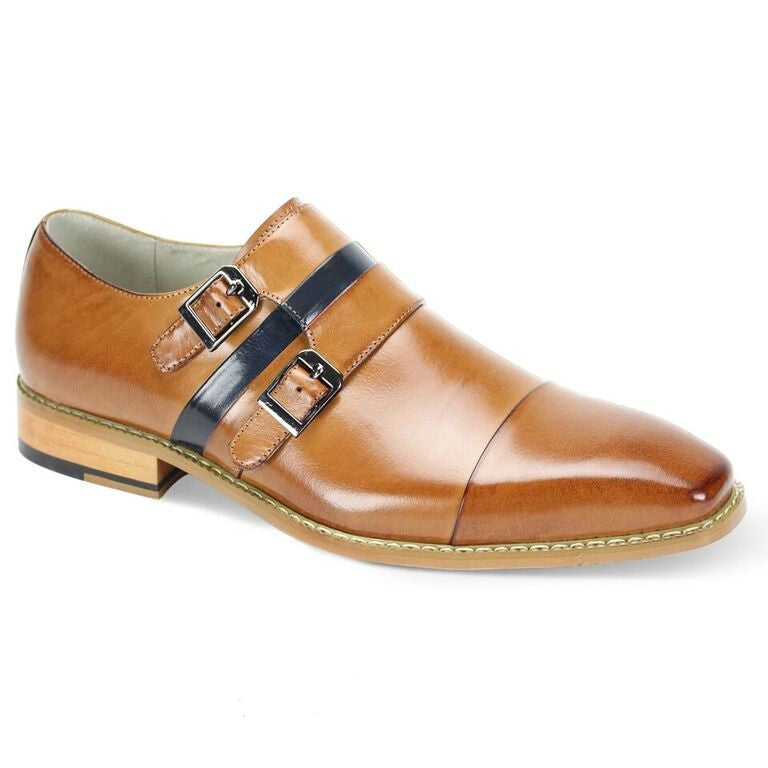 Contrast Double Monk Strap Shoe- Tan