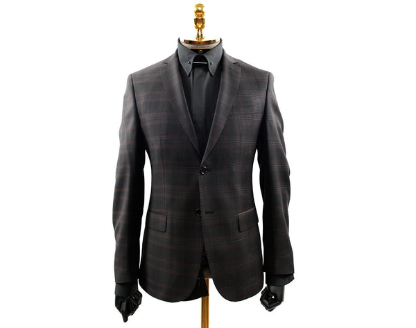 Merino Wool | Check Patterned Suit- Black