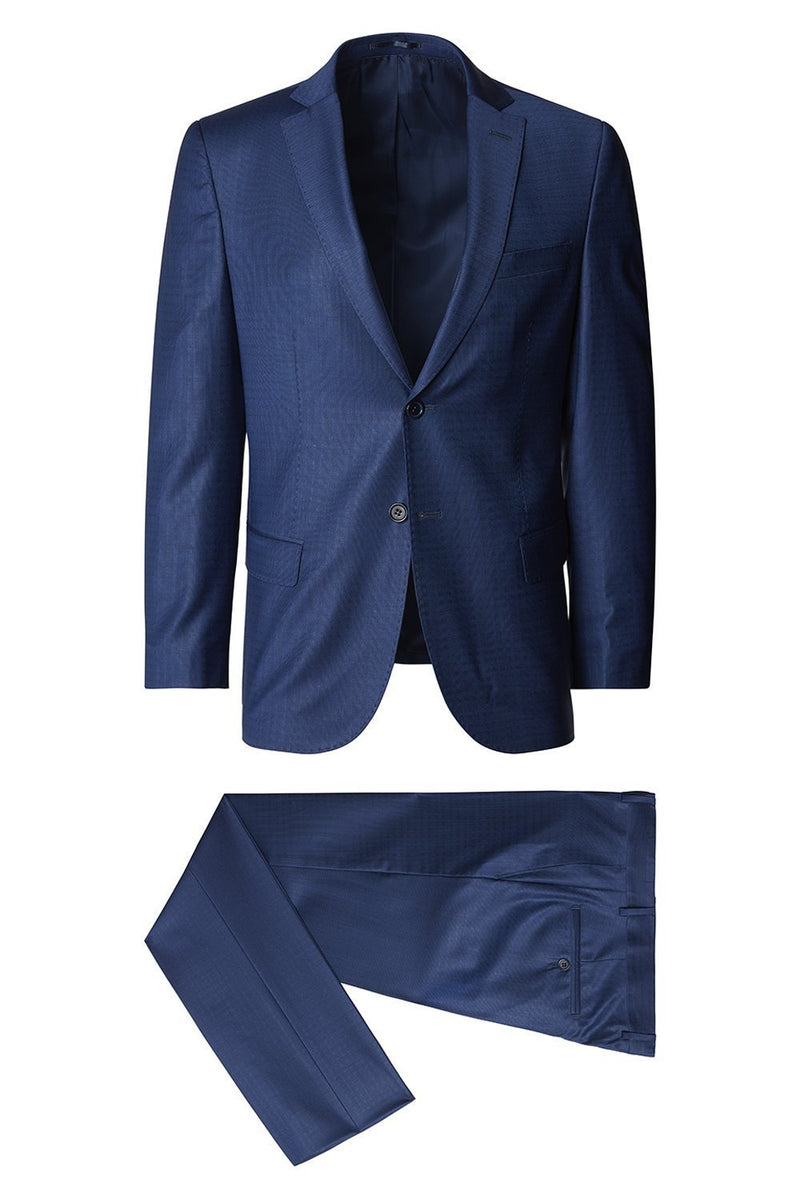 Micro Pattern Wool Suit- Navy