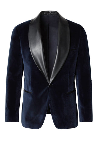 Leather Shawl Lapel Velvet Tuxedo- Navy