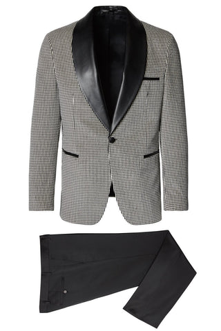 Leather Shawl Lapel Velvet Tuxedo- White/Black
