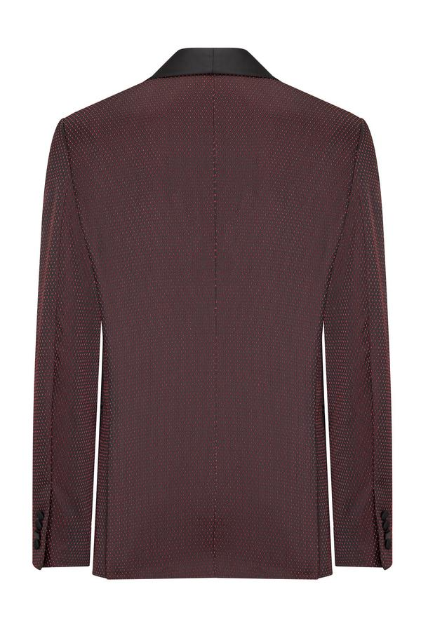 Textured Stretch Wide Shawl Lapel Tuxedo- Burgundy