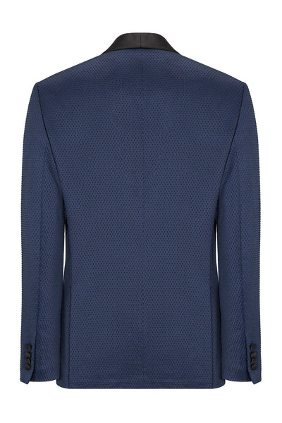Textured Stretch Wide Shawl Lapel Tuxedo- Navy