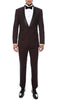 Single Button Shawl Collar Tuxedo- Burgundy/Black