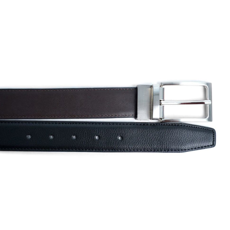 Reversible Leather Belt with Rotated Buckle- Black/Brown