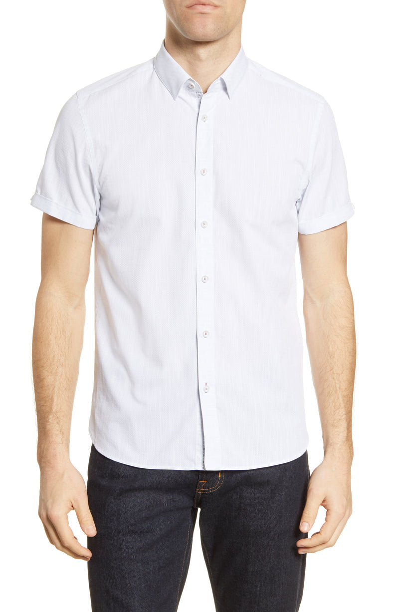 Micro Dot Short Sleeve Shirt - Light Grey