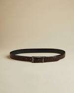 Reversible Exotic Leather Belt- Chocolate