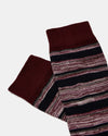 Striped Cotton Socks- Dark Red