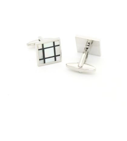 Silvertone White Shell Cufflinks