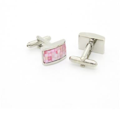 Silvertone Pink Rectangle Shell Cufflinks
