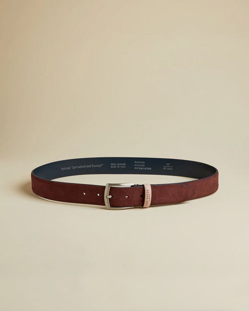 Suede Leather Belt- Dark Red