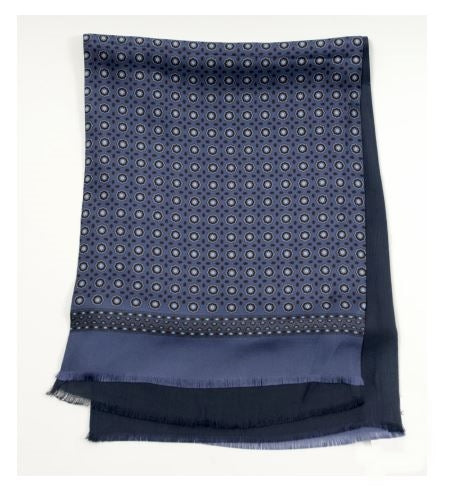 Printed Silk Scarf- Blue/Brown