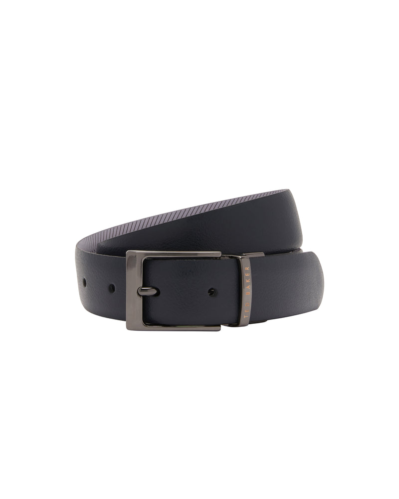 Reversible Leather Belt- Navy