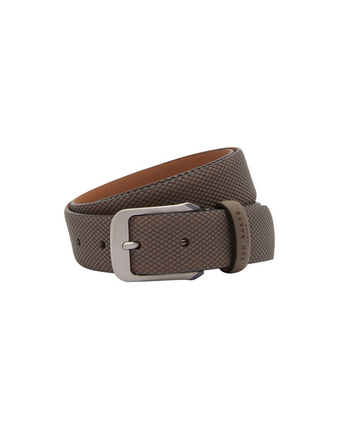 Ted Baker Textured Leather Belt- Grey