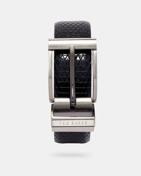 Ted Baker Reversible Textured Leather Belt - Black