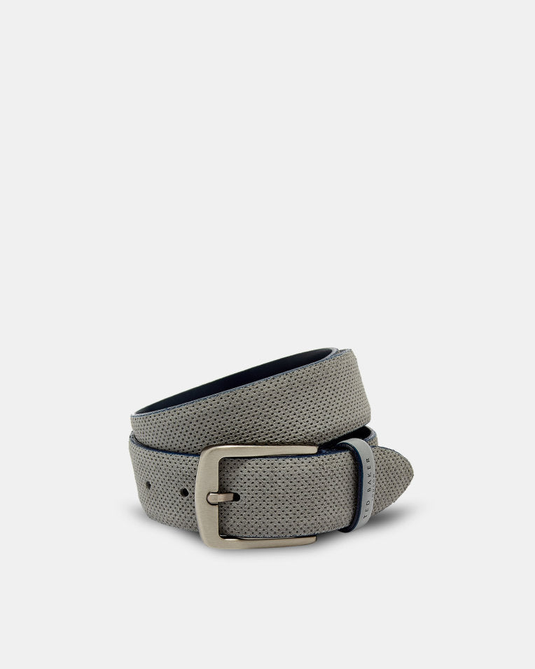 Micro-Perforated Suede Belt - Grey