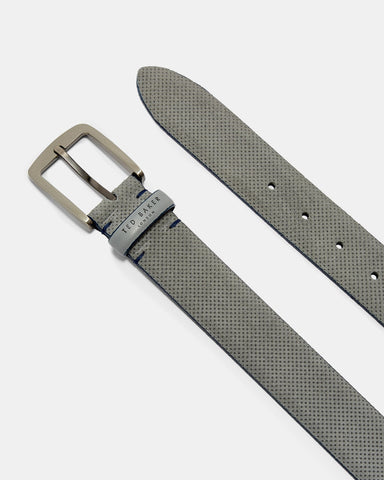 Ted Baker Micro-Perforated Suede Belt - Grey