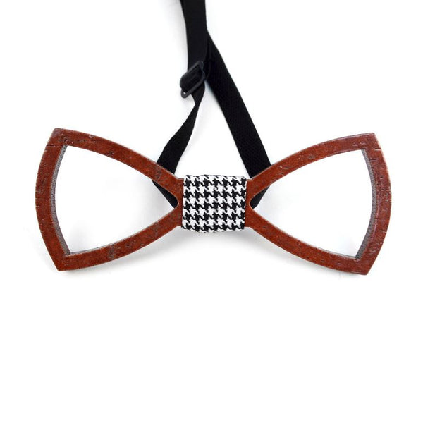 Wooden Bowtie With Houndstooth Band