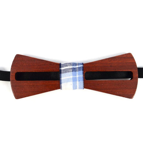 Wooden Bowtie With Plaid Band