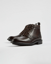 Burnished Leather Lace Up Boots- Brown