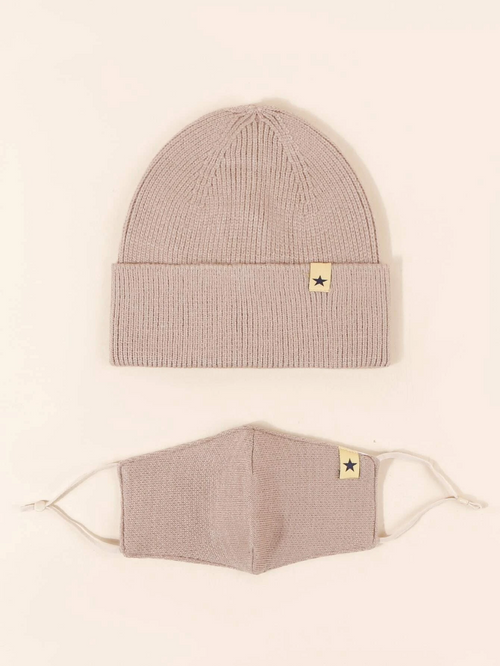 Knit Beanie with Detachable Face Mask- Beige