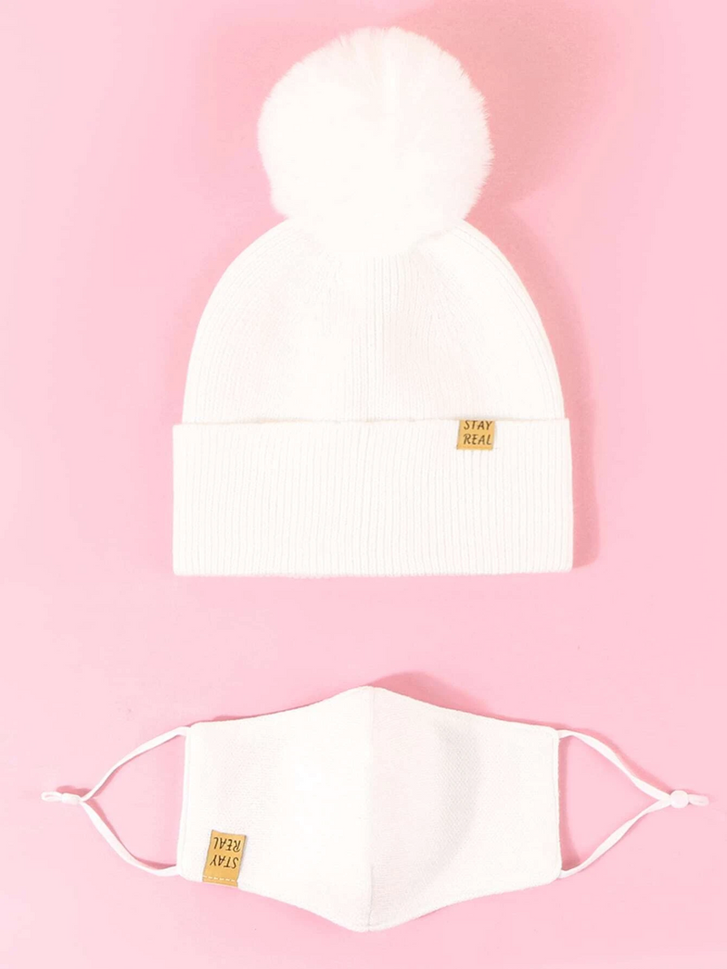 Knit Beanie with Detachable Face Mask- Cream