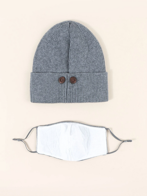 Knit Beanie with Detachable Face Mask- Grey