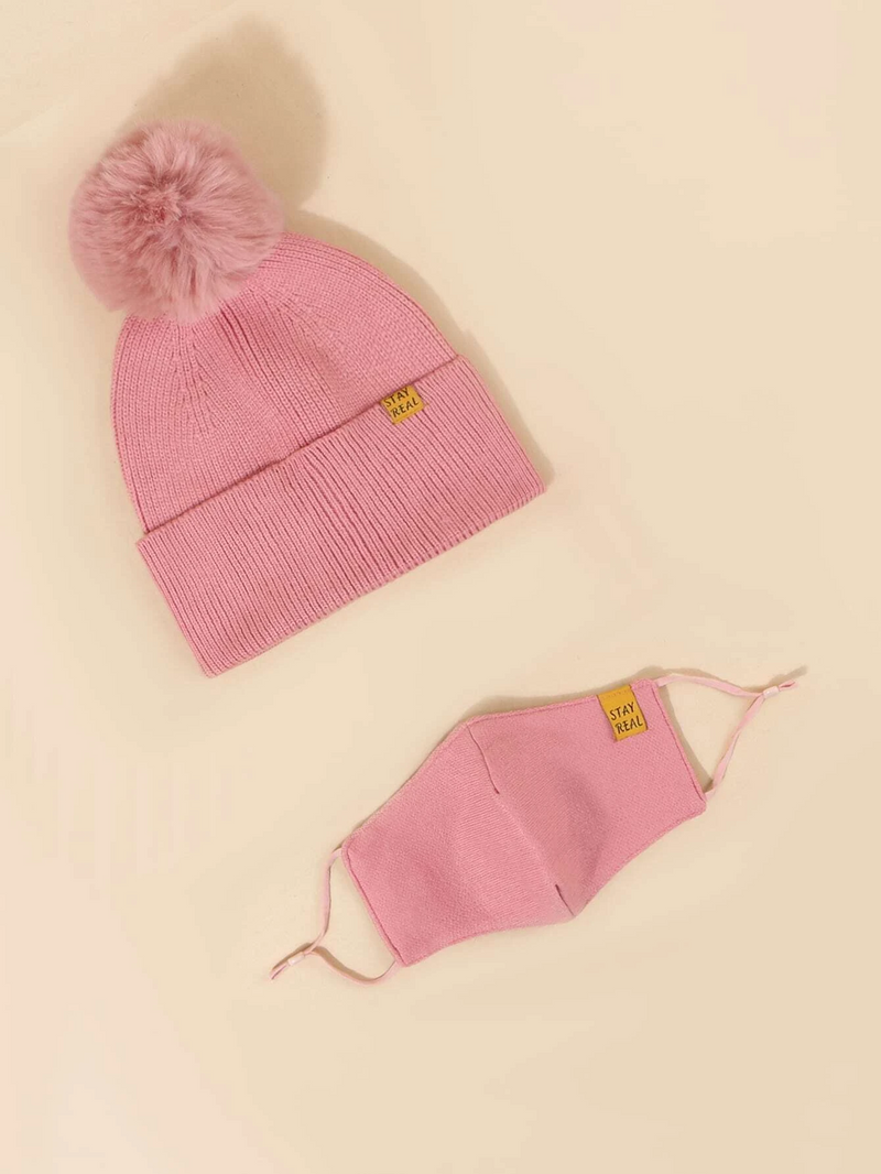 Knit Beanie with Detachable Face Mask- Pink